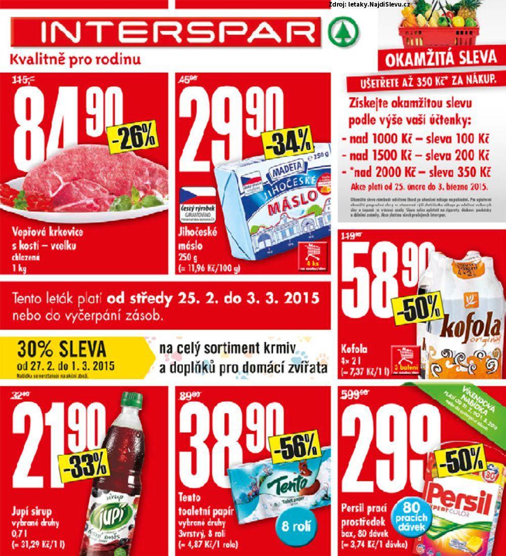 Strana 1 - leták INTERSPAR (25. 2. - 1. 3. 2015)