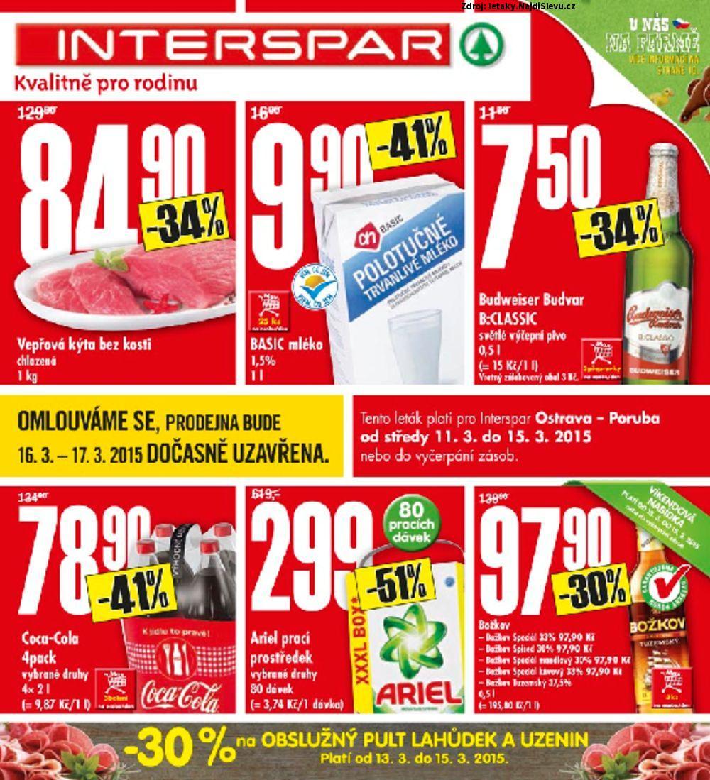 Strana 1 - leták INTERSPAR (11. 3. - 15. 3. 2015)