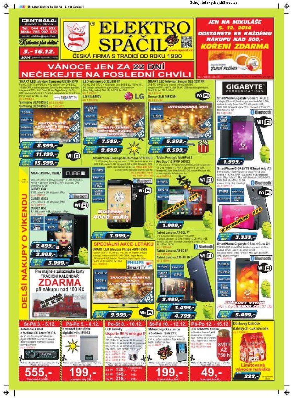 Strana 1 - leták Elektro Spáčil (3. 11. - 16. 12. 2014)