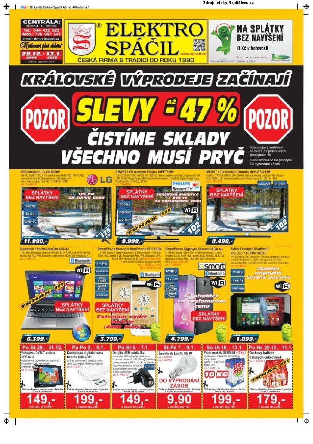 Strana 1 - leták Elektro Spáčil (29. 12. - 13. 1. 2015)