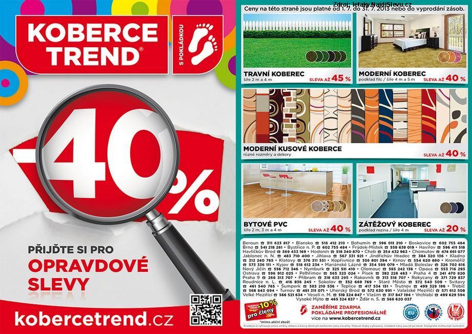 Strana 1 - leták Koberce Trend (1. 7. - 31. 7. 2013)