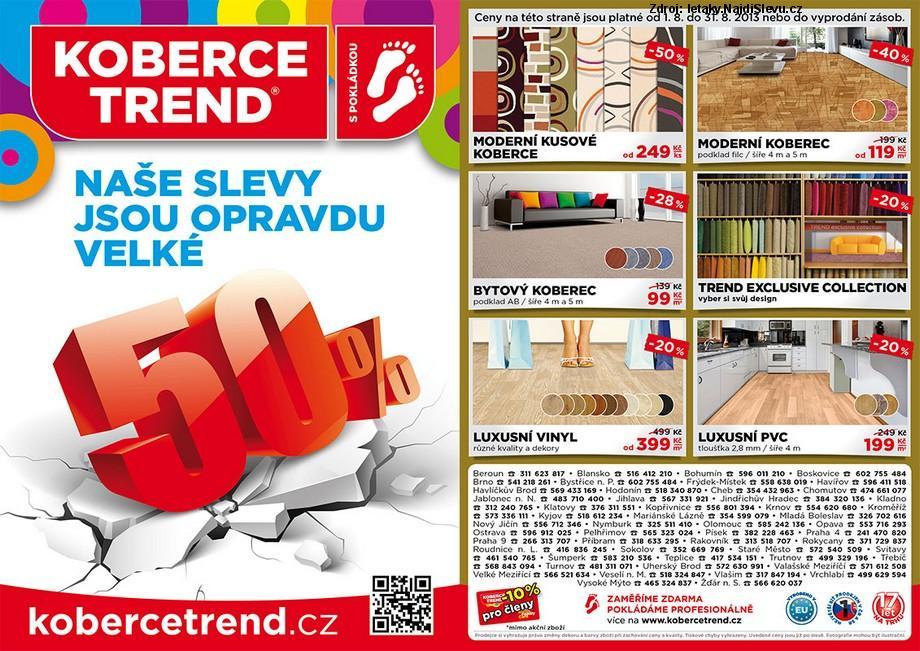 Strana 1 - leták Koberce Trend (1. 8. - 31. 8. 2013)