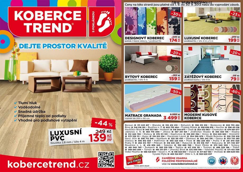 Strana 1 - leták Koberce Trend (1. 9. - 30. 9. 2013)