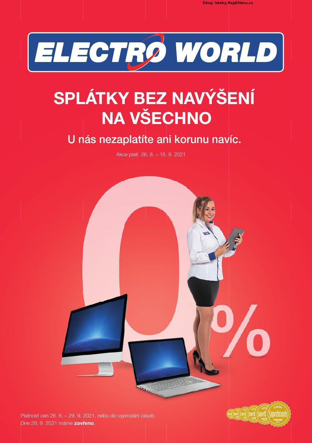 Strana 1 - leták Electro World (26. 8. - 29. 9. 2021)